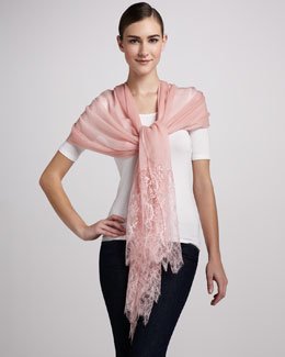 Valentino Lace Wool Shawl, Rose Pink