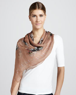 Alexander McQueen Bird and Dragonflies Scarf, Rose