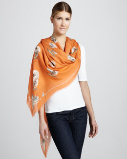 Alexander McQueen Bird & Apple Skull Scarf, Orange
