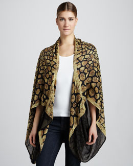 Alexander McQueen Animalier Georgette Cape, Black/Yellow