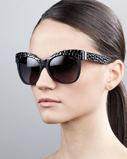 Roberto Cavalli Pebble-Textured Cat-Eye Sunglasses, Black/Golden