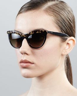 Prada Tortoise-Trim Cat-Eye Sunglasses