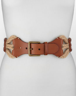 Ralph Lauren Leather With Woven-Jute Belt, Tan/Natural
