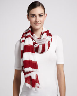 Marc Jacobs Striped Cotton Scarf, Red/White