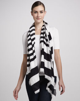 Marc Jacobs Striped Spring Cotton Scarf, Black/White