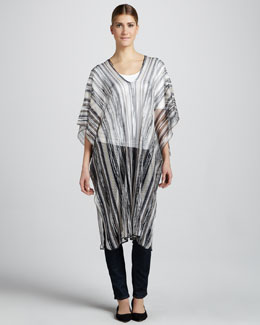 Missoni Long Lightweight Sheer Striped Poncho, Black/Gray
