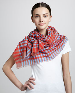 MARC by Marc Jacobs Molly Check Scarf, Coral/Gray
