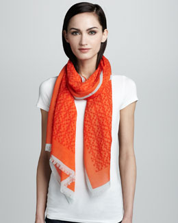 Tory Burch Allover T-Logo Printed Scarf, Fire Orange