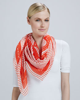 Tory Burch Striped Logo Square Scarf, Poppy Red