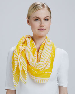 Tory Burch Striped Logo Square Scarf, Yellow Daisy Flower