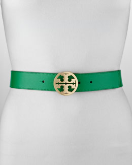 Tory Burch Classic Leather Tory Logo Belt, Emerald