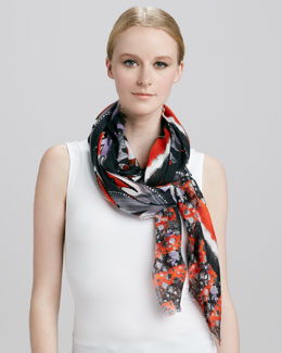 Peter Pilotto Ornate Printed Eyelash Fringe Scarf, Red/Blue
