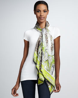 Roberto Cavalli St. Louis Jaguar-Print Scarf, Brown/White/Lime