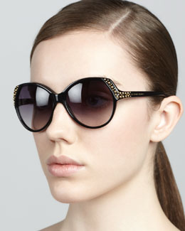 Alexander McQueen Studded Sunglasses, Black