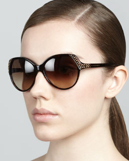 Alexander McQueen Studded Sunglasses, Brown Havana
