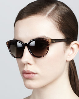 Dior Rounded Flower Sunglasses, Brown