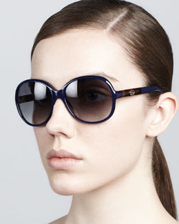 Gucci Circular Sunglasses, Blue/Gray
