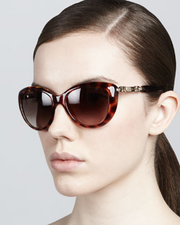 Jimmy Choo Wigmore Cat-Eye Chain-Arm Sunglasses, Havana