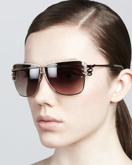 Just Cavalli Futuristic Serpent-Temple Sunglasses, Rose Golden