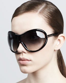 Tom Ford Grant Oversized Shield Sunglasses, Black