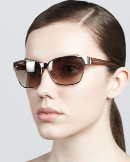 Givenchy Metal Rectangular Sunglasses, Gold