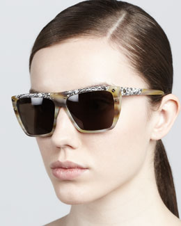 Lanvin Mix-Pattern Horn Sunglasses, Cream