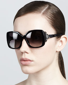 Lanvin Square Sunglasses, Shiny Black