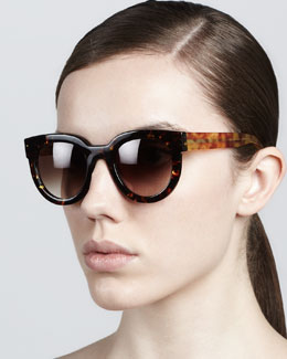 Thierry Lasry Therapy Large Round Sunglasses, Dark Havana