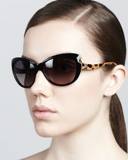 Roberto Cavalli Pointed-Temple Sunglasses, Black