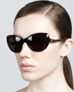Roberto Cavalli Pointed-Temple Sunglasses, Red