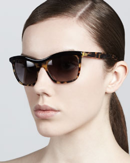 Prada Defined-Bridge Sunglasses, Tortoise