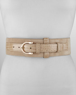 Oscar de la Renta Wide Suede and Alligator-Print Belt