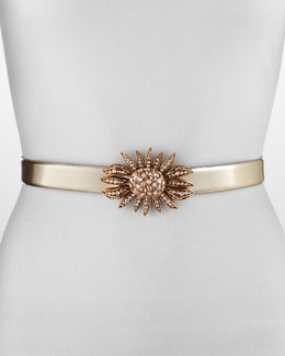 Oscar de la Renta Jeweled Sunflower Belt, Gold