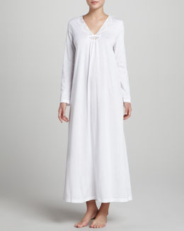 Hanro Gwen Eyelet Long Gown, White