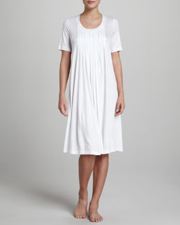 Hanro Paula Pleated Gown, White