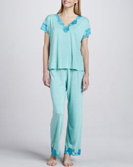 Natori Zen Lace-Trim Pajamas, Sea Glass