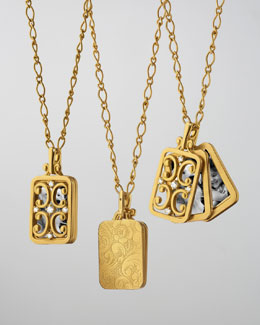 Monica Rich Kosann 18k Gold Rectangular Gate Pendant Necklace