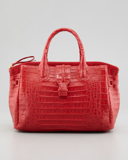 Nancy Gonzalez Cristina Crocodile Shoulder Tote Bag, Red