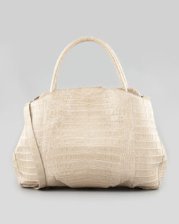 Nancy Gonzalez Lady Kiss-Lock Compartmentalized Tote Bag, Stone