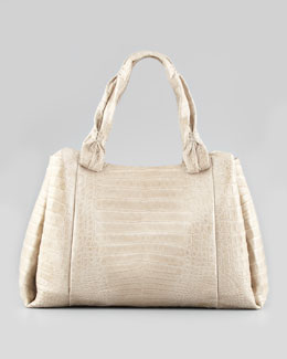 Nancy Gonzalez Pinched-Strap Crocodile Tote Bag, Stone
