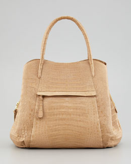 Nancy Gonzalez Crocodile North-South Trapezoidal Tote Bag, Camel