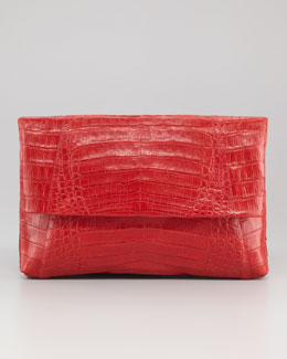 Nancy Gonzalez Crocodile Fold-Over Clutch Bag, Red