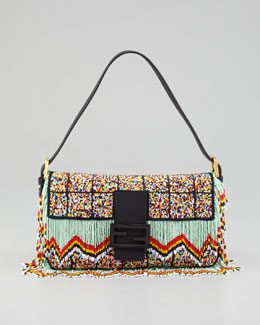 FENDI Rainbow Beaded Fringe Baguette