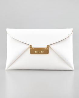 VBH Prive Leather Clutch Bag, White