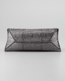 VBH Metallic Python Manila Clutch Bag, Gunmetal