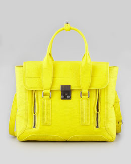 3.1 Phillip Lim Medium Pashli Leather Satchel, Neon Yellow