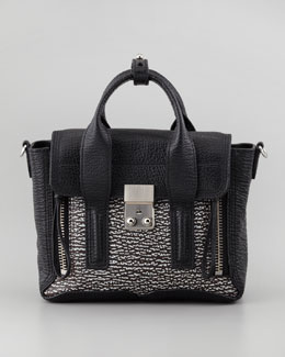 3.1 Phillip Lim Mini Pashli Shark-Embossed Satchel, Black/White