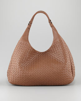 Bottega Veneta Double-Handle Veneta Hobo, Light Brown