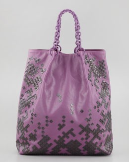 Bottega Veneta Mosaic-Trim Large Tote Bag, Purple