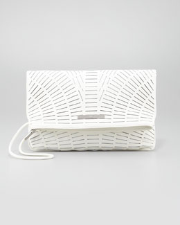 McQ Alexander McQueen Lasercut Leather Fold-Over Clutch Bag, White